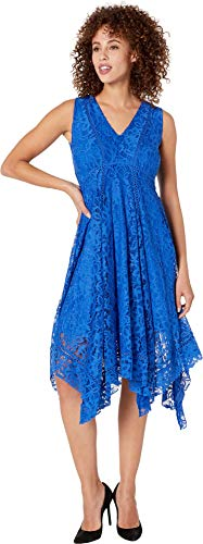 Taylor Dresses Women's Sleeveless Hankerchief Hem Lace Dress, Electric Blue 14