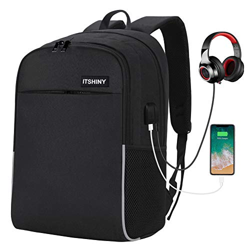 Slim Laptop Backpack for School – College Backpack, School Backpack with USB Charging Port Fits 15.6 inch Laptop & Notebook, Casual Backpack for Men/Women/Boys/Girls (Black)