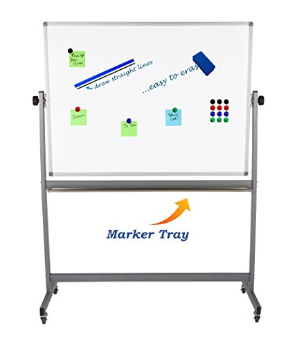 """Magnetic Mobile Whiteboard Large On Stand Double Sided Flip Over Dry Erase Reversible Portable Home Office Classroom Board 36 x 48"""" Inch with 4 Markers 12 Magnets Eraser and Ruler Easel Aluminum Frame by Dapper Display (Image #6)'"""