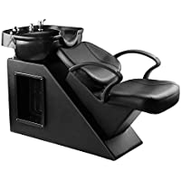 Ainfox Shampoo Barber Backwash Chair, ABS Plastic Shampoo Bowl Sink Chair for Spa Beauty Salon (Black)