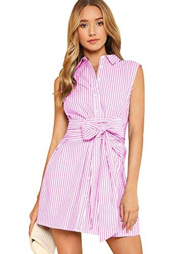Romwe Women's Cute Sleeveless Striped Belted Button up Summer Short Shirt Dress Pink L