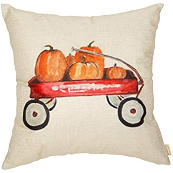 Fahrendom Fall Farmhouse Rustic Home Décor Thanksgiving Day Autumn Harvest Decorative Throw Pillow Cover Whimsical Pumpkin Red Wagon Decoration Cotton Linen Cushion Case for Sofa Couch 18 x 18 in