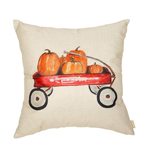 (Fahrendom Fall Farmhouse Rustic Home Décor Thanksgiving Day Autumn Harvest Decorative Throw Pillow Cover Whimsical Pumpkin Red Wagon Decoration Cotton Linen Cushion Case for Sofa Couch 18 x 18 in)