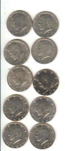 10 Kennedy Half Dollars 5 Years-1985,86,87,88,89- P & D Mints