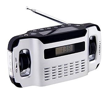 Powerplus Lynx - Radio portátil (funciona con energía solar o con la dinamo integrada, con linterna y función de cargador de móviles), color plateado