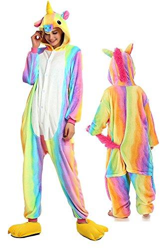 Qiyuxow Unisex Family Kids Pajamas Plush Onesie Unicorn Cosplay Animal Costume (Kids 125(Suggested Height - 51