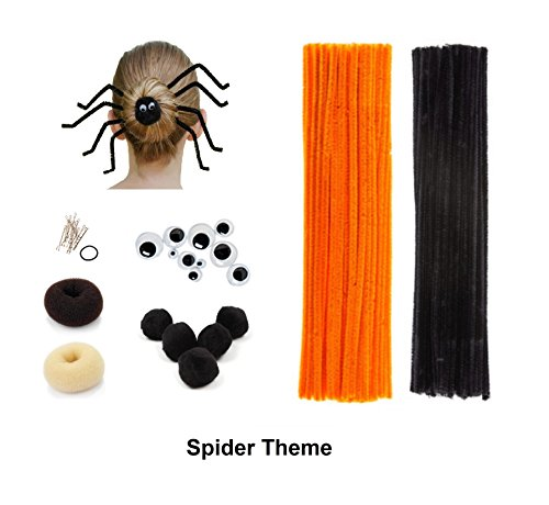 Beaute Galleria - Bundle Creativity Hairstyle Chenille Stems Pipe Cleaners w Pom Pom Hair Donut Googly Eye Hair Pin for Art Crafts Halloween Christmas Spider Reindeer Bun Holiday Hairdo (Orange/Black)