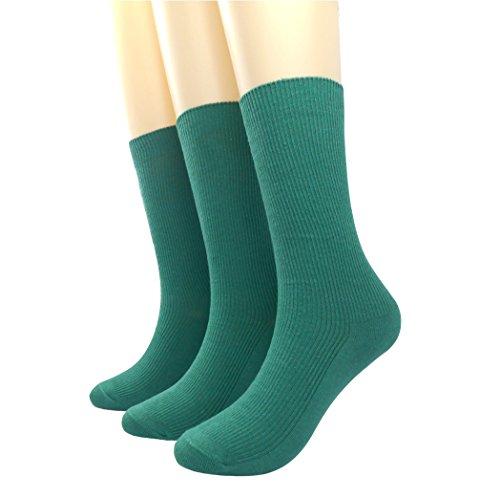 Green Womens Socks (BLACOCO Women's Pure Color Simple Sock Soft Comfort Casual Cotton Crew Socks (Dark Green))