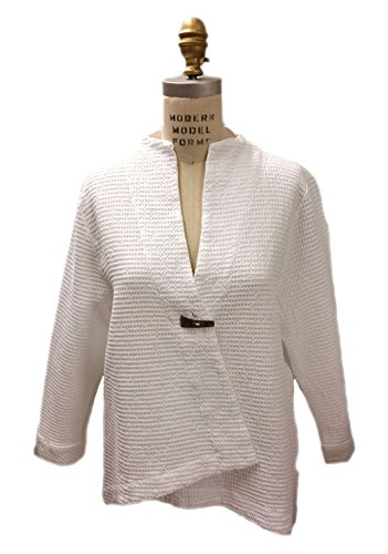 Focus Cotton Waffle One Button Swing Jacket (Medium, White) - One Button Swing