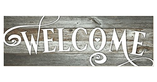 Welcome Rustic Wood Wall Sign 6x18 (Gray)