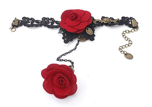 LEFINIS Handmade Gothic Lolita Retro Lace Slave Bracelet Ring Wedding Wristband Red Flower -