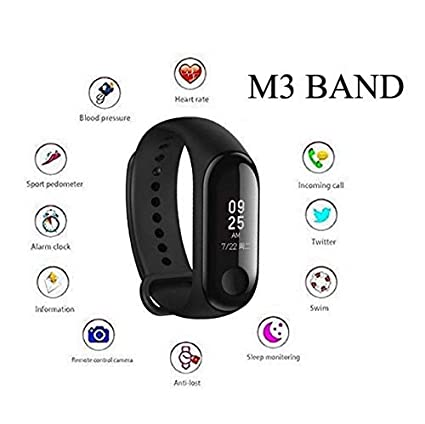 SYL Smart Fitness Band 3 Sports Activity Tracker | Bluetooth 4 2 | Fitband  with OLED Heart Rate Monitor, Health Activity, Smart Wristband for All