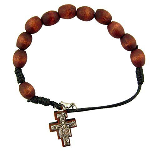 Wooden Prayer Bead Rosary Bracelet with San Damiano Cross Crucifix, 8 Inch (Wood Cross Bracelet)