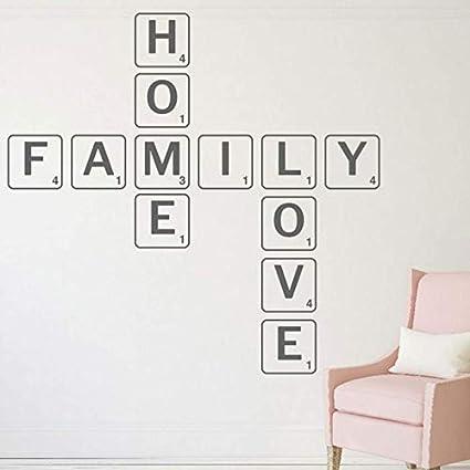Hkkhkk Estilo Scrabble Familia Home Love Etiqueta De La Pared Para La Sala De Vinilo Calcomanía Adhesiva Wallpaper Mural Diy Decoración Del Hogar 101X98 Cm: Amazon.es: Bricolaje y herramientas