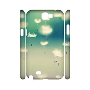 3D Naza Dandelions in the Air Case for Samsung Galaxy Note 2 Pattern, Luxury Case for Samsung Galaxy Note 2 for Teen Girls Protective with White