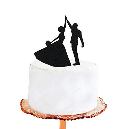 (RubyPound Wedding Cake Topper Halloween Wedding Cake Topper Addams Family Morticia and Gomez Silhouette Cake)