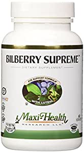 Maxi Health Bilberry Supreme with Eyebright and Lutein Eye Support Formula, 60 Count