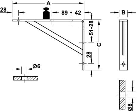3 tama/ños Stahl verzinkt Estanter/ía de soporte de carga pesada de tirantes GedoTec de carga pesada y consolas de Athena De madera maciza de acero Made IN Germany 3 coloures 395 x 270 x 30 mm Capacidad de carga 200-300 kg