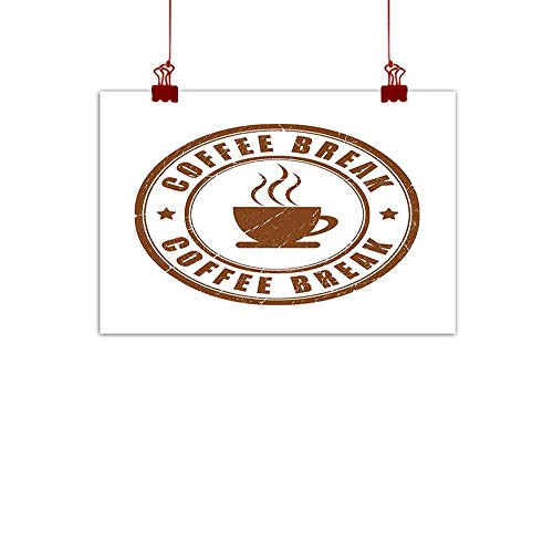 "warmfamily Simple Life Minimalist Coffee,Worn Coffee Break Seal Design with Stars Circular Pattern and Glass Silhouette,Caramel White 48""x32"" Watercolor Painting Home Decor Prints Posters"