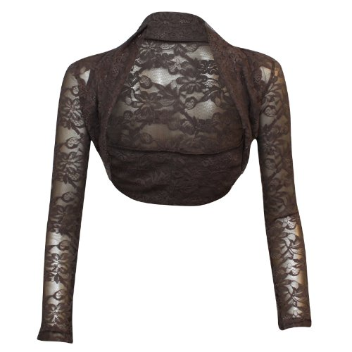 XpoZed Moda–Chaqueta torera de mujer , manga larga, encaje marrón