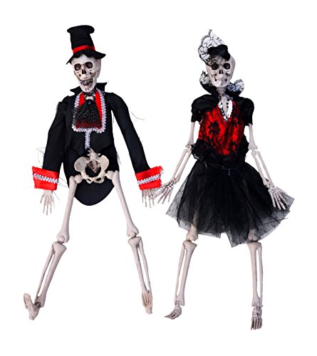 Hanging Skeleton Bride and Groom Couple Halloween Decoration, Set of 2