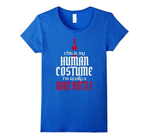 Wine Bottle Halloween Costume - Womens Funny Cool Halloween Human Costume Wine Bottle T-shirts XL Royal Blue