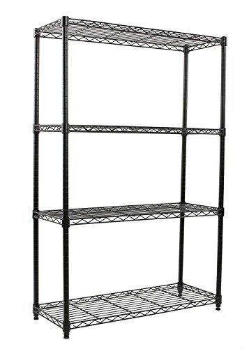 Finnhomy Heavy Duty 4-Tier Wire Shelving unit Thicken Pole Adjustable 4-Shelf Steel Wire Shelving Rack Storage Rack 36
