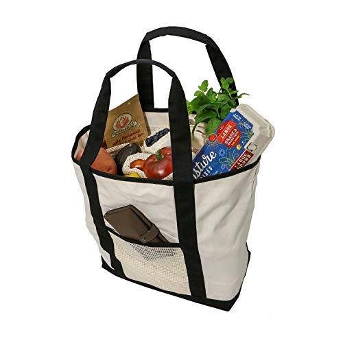 Simple Ecology Reusable Organic Cotton Super Duty Canvas Tote & Grocery Bag- Black (shopping bags, heavy duty, washable, foldable, pockets, handbag, durable handles, strong magnetic closure)]()