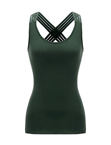 - Regna X Women's Sleeveless Blouse T Front Strappy Scoop Neck Casual Tank Tops
