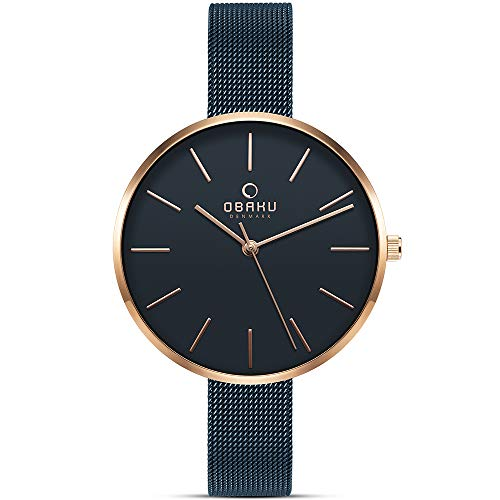 Obaku Denmark - Womens Designer Watch - Classic Yet Modern Design Elegant Rose Gold Steel Case - Mesh Band - Model: Mynte (Sapphire Blue)