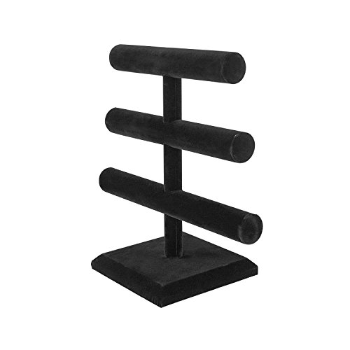 Super Z Outlet Black Velvet Level T-Bar Bracelet Necklace Jewelry Display Stand for Home Organization by Super Z Outlet (Image #1)