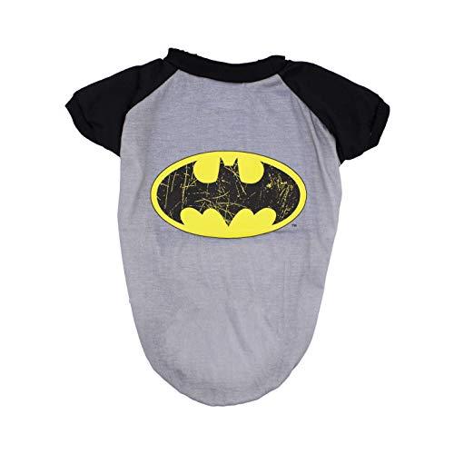 (DC Comics Batman T-Shirt for Dogs | Batman Logo Dog Tee | Grey & Black, Large )