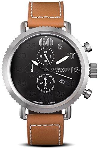 Chotovelli Vintage Pilot Men's Watch Chronograph display Cognac leather Strap 72.11