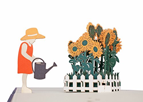 3d Pop Up Greeting Card - The Young Girl and Sunflowers - Get Well Card for Kids, Thank You Card for Kids, Sympathy Card for Children, Graduation Card By AITpop