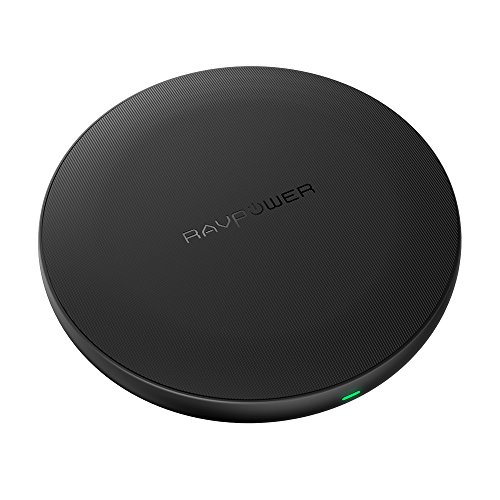 RAVPower Qi Wireless Charging Pad, Qi Certified Ultra-Safe Wireless Charger Compatible iPhone Xs MAX, XS,XR, X 8 Plus 8, Galaxy S9 S8+ S8 and All Qi-Enabled Devices (AC Adapter Not Included)