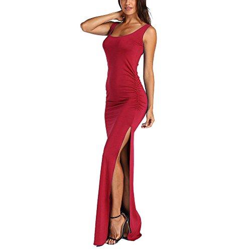 Sexy Women's Slit Front Sleeveless O Neck Summer Casual Beach Long Maxi Dress -