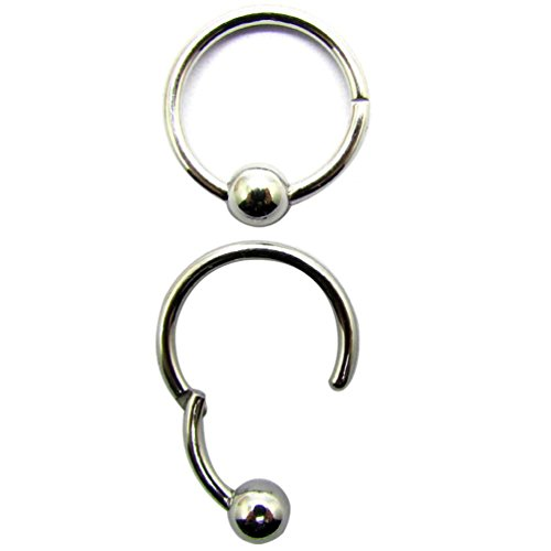 NewkeepsR 16G 3/8''(10mm) 316L Steel Hinged Clicker Captive Bead Septum Lip Nipple Rings Ball Closure-Ball is never lost and no need put the ball out or back(Sold - 16g Ring Captive