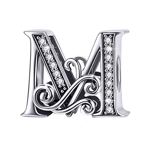 BAMOER 925 Sterling Silver Initial Letter M Charms for Snake Chain Bracelet Necklace Alphabet Beads