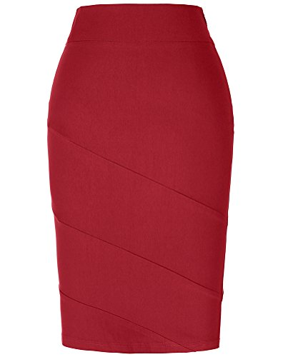 Cotton Pencil Skirt Casual Elastic Waist Band Stretchy,Red,Medium