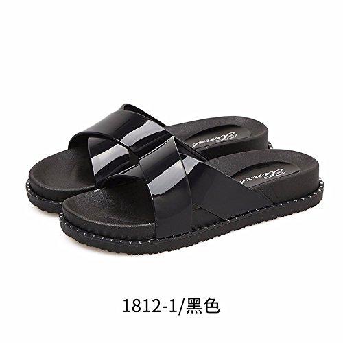 LiUXINDA-XZZ® Zapatillas de verano para mujer, zapatillas de playa de verano, zapatos de playa, parte inferior plana, desgastados por zapatillas coreanas. negro