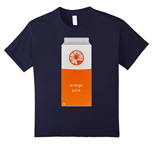 Kids Orange Juice Carton Funny Breakfast Drink Costume T-Shirt 12 Navy