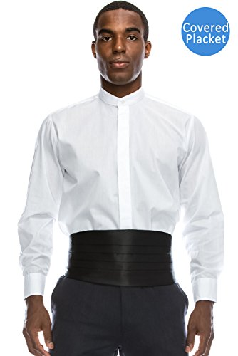 JC DISTRO Banded Collar Formal Dress Shirt Non-Pleat Tuxedo Shirt (L), 16-16.5N-34/35S