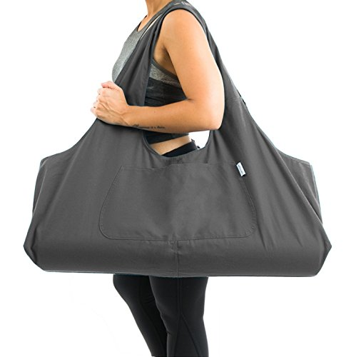 Large Yoga Mat Bag by Yogiii | The YogiiiTotePRO | Large Yoga Mat Tote Sling Carrier w/ Side Pocket | Fits All Size Mats (Ash Gray)
