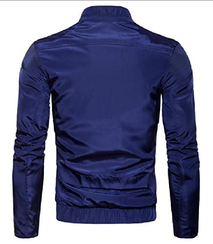 Blue Jacket Stand Sleeve Collar Men's Navy Casual Long security Pocket Zipper Solid zPOXqwR