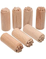 ULTNICE Wooden Clay Stamp 7Pcs Column Wood Clay Stamps Hand Carved Stamps DIY Pottery Printing Blocks with Mixed Patterns
