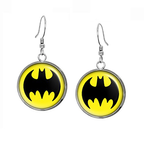 Batman Earrings, Justice League Necklace, Superman Earrings, Suicide Squad, The Dark Knight Pendant, DC Comics Jewelry, Wedding Party, Geek Gift Geeky Gifts Nerd Nerdy -