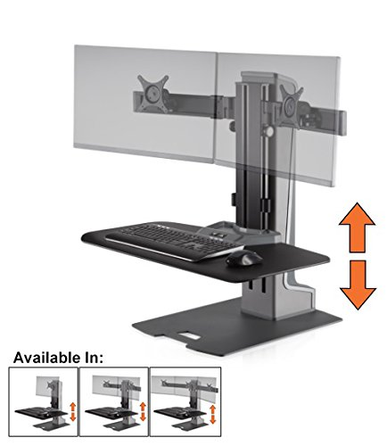 (Stand Steady Winston-E Electric Dual Monitor Mount Sit-Stand Desk with Compact Work Surface (Innovative WNSTE-2-CW) | Holds Two Monitors with VESA Mount| Height Adjustable! (Electric/2 Monitor))
