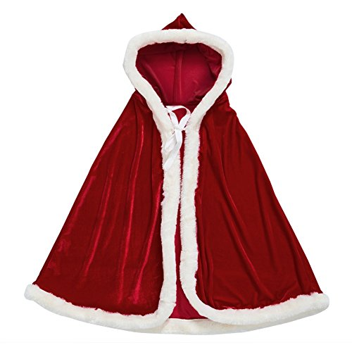 Zuozee Mrs Santa Claus Costume,Santa Cape Xmas Costumes,Velvet Hooded Cloak Robe Christmas Women Girls (Santa Claus Costume For Girl)