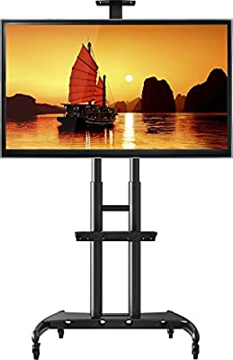 """North Bayou Mobile TV Cart TV Stand with Wheels for 55"""" - 80"""" Inch LCD LED OLED Plasma Flat Panel Screens up to 200lbs AVA1800-70-1P"""