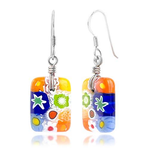 925 Sterling Silver Millefiori Murano Glass Multi-Colored Square Dangle Earrings 1.5
